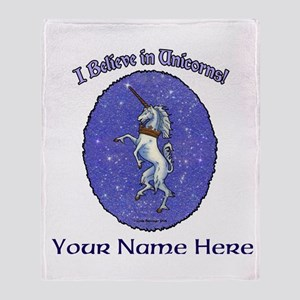 Unicorn Purple Glitter Personalize Throw Blanket